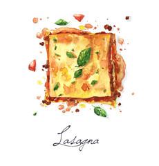 Watercolor Food Painting - Lasagna