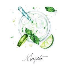 Watercolor Food Painting - Mojito