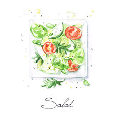 Watercolor Food Painting - Salad