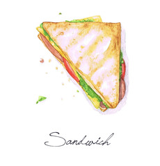 Watercolor Food Painting - Sandwich