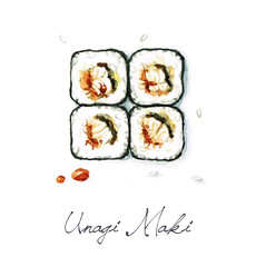 Watercolor Food Painting - Unagi Maki