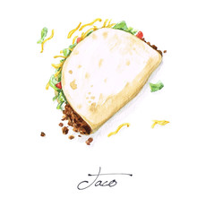 Watercolor Food Painting - Taco