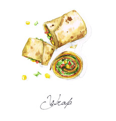 Watercolor Food Painting - Wrap