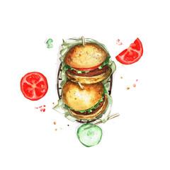 Watercolor Food Painting - Burgers