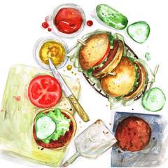 Watercolor Food Painting - Making burgers