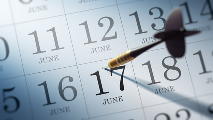 June 17 written on a calendar to remind you an important appoint