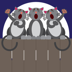 Three cats sitting on a fence at night putting on a performance