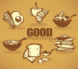 good morning, vector collection of traditional breakfast meal