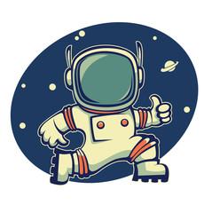 retro austronaut in outer space, cartoon vector  illustration