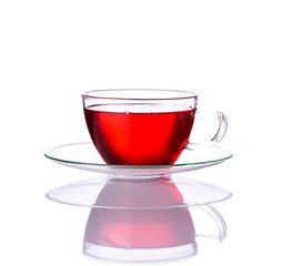 Red Tea in Glass Cup