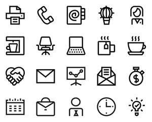 Office line icon set.
