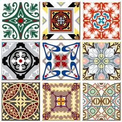 Foto auf Leinwand Buntglasfenster Vintage retro ceramic tile pattern set collection 011