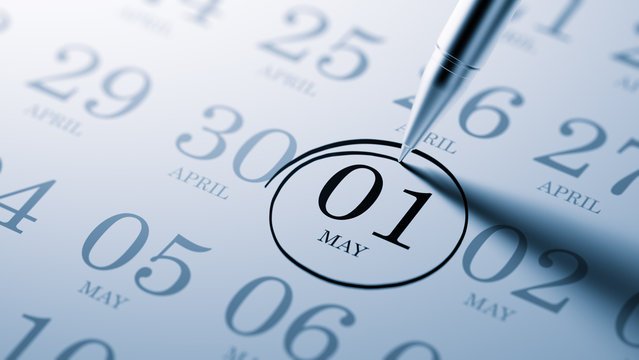 May 01 written on a calendar to remind you an important appointm