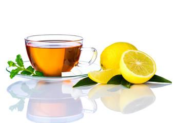 Tea Cup and Sliced Lemon