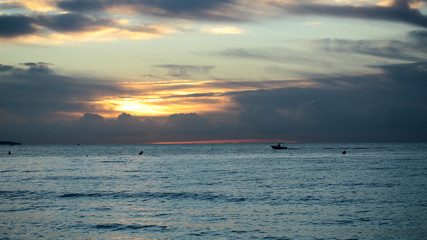Spectacular marine sunset sky