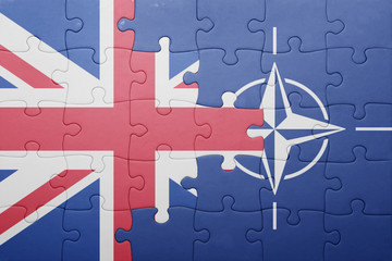 puzzle with the national flag of great britain and nato