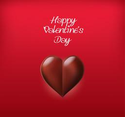Chocolate Heart Valentine`s Day Card. Sweet Love. Vector Illustr