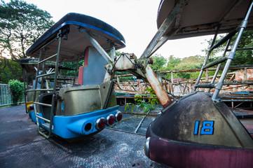 Derelict enterprise fairground ride at Yangon abandoned amusement park