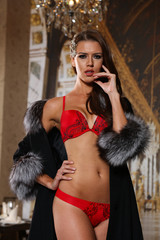 Beautiful brunette woman in red lingerie and luxury fur coat  in sexy fashion pose. Wallpaper background.