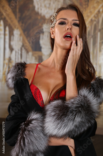 d98583ea021 Fashion indoor portrait of gorgeous sensual woman with long dark hair wears  luxurious fur coat and sexy red lingerie.