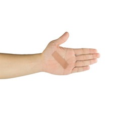 Palm and fingers with adhesive bandage, isolated on white backgr