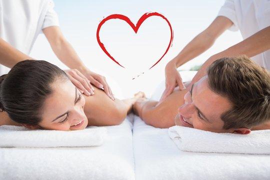 Peaceful couple enjoying couples massage