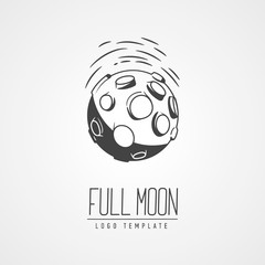 Cosmic thin line vector illustration. Concept:  star in galaxy. Asteroid, crater, lettering.  Template logo. Hand drawing.