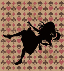 Canvas Prints Fairytale World Falling Alice Silhouette