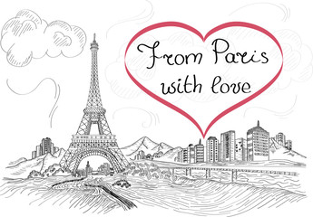 Love in Paris. Eiffel Tower. Romantic town / city