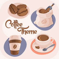 Coffee Theme Icons Set Isolated on Beige Background. (Coffee Beans, Bag, Paper Cup and Ceramic Cup). Vector Illustration.
