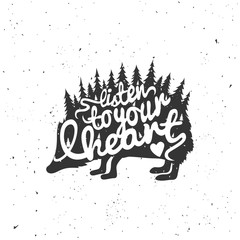 Hedgehog silhouette, trees and lettering quote - listen to your heart
