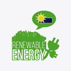 renewable energy illustration over color background
