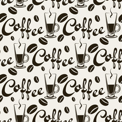 Coffee, seamless pattern, black and white