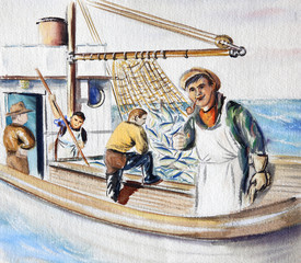 Fisherman on the boat