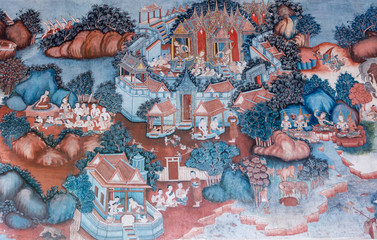 PHATTHALUNG, THAILAND -  AUGUST 22, 2015: Traditional Thai mural