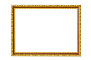 Golden photo Frame isolated on white background.