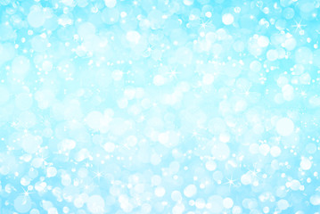 white light blue glitter bokeh with stars abstract background
