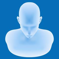 human head model, front top view, vector illustration
