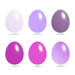 Easter eggs set in purple color isolated on white background vec