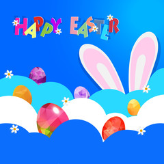 Easter background with decorated Easter eggs hide on cloud and b