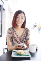 woman looking at camera smile