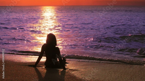 Mysterious Silhouette Sexy Girl Standing On The Beach