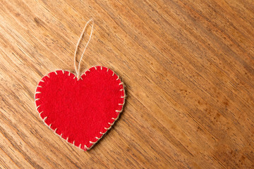 Valentine hearts on rustic wooden background