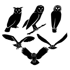 owl silhouette logo icon vector