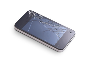 Photo of phone with broken display screen isolated on white