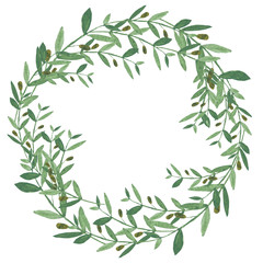Watercolor olive wreath.