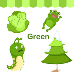 Illustration of isolated color green group