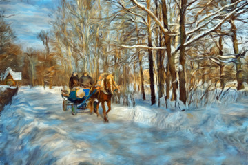 Winter landscape with horse and coach
