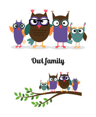 Owl family. Owl mother, father and children on the branch. Vector illustration