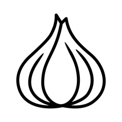 Garlic bulb / allium sativum line art icon for food apps and websites